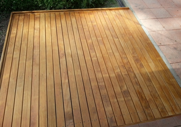 Completed ground level deck