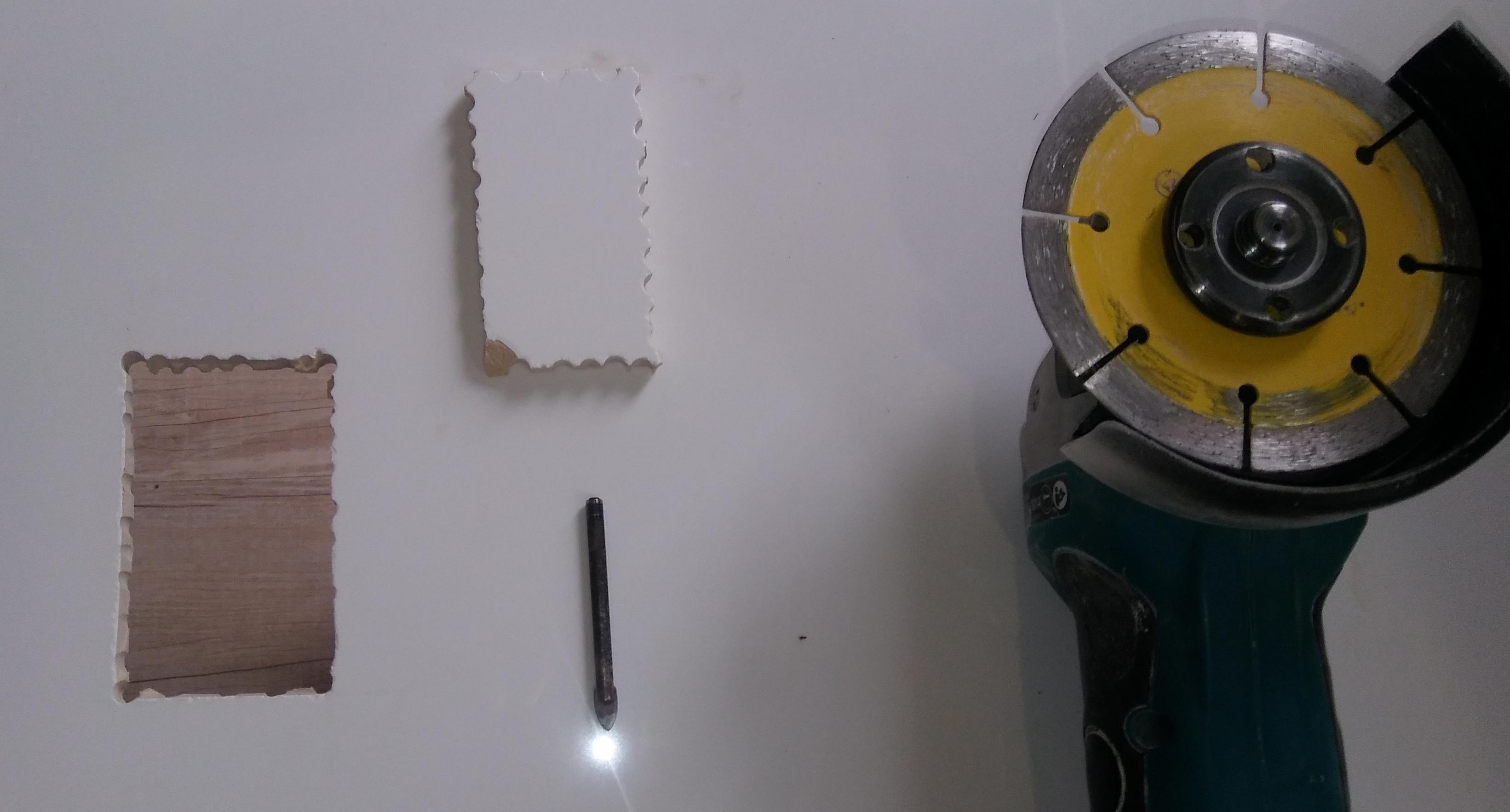 Square hole tile cutting
