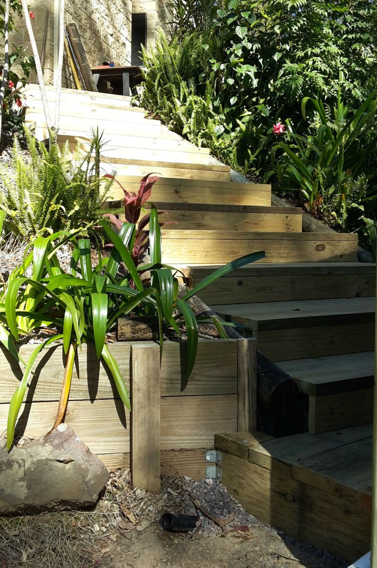 Wooden steps from Pine Sleepers