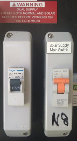 Dual main switches for solar power disconnection