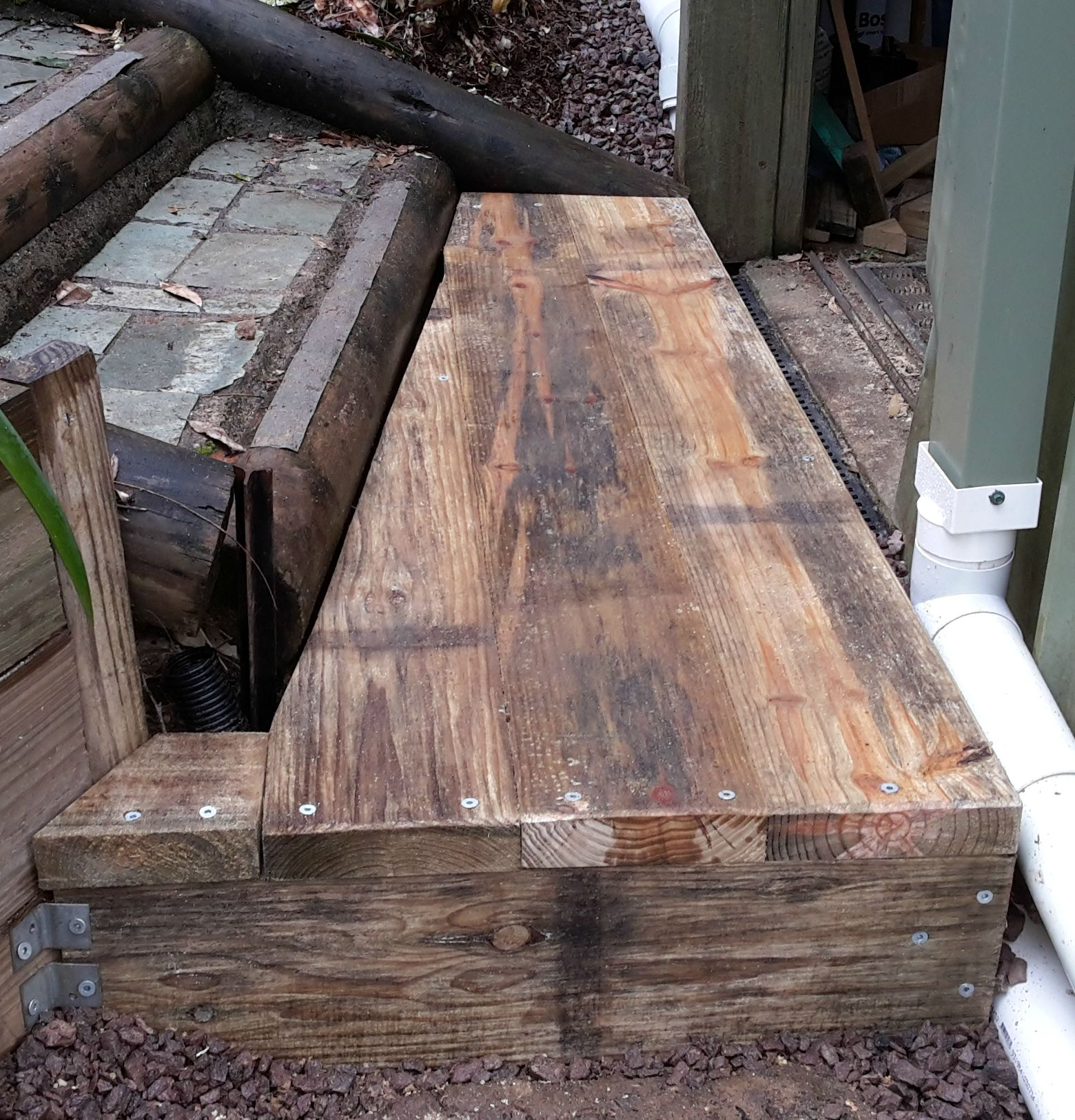 Building wooden steps with treated pine sleepers for First step in building a house