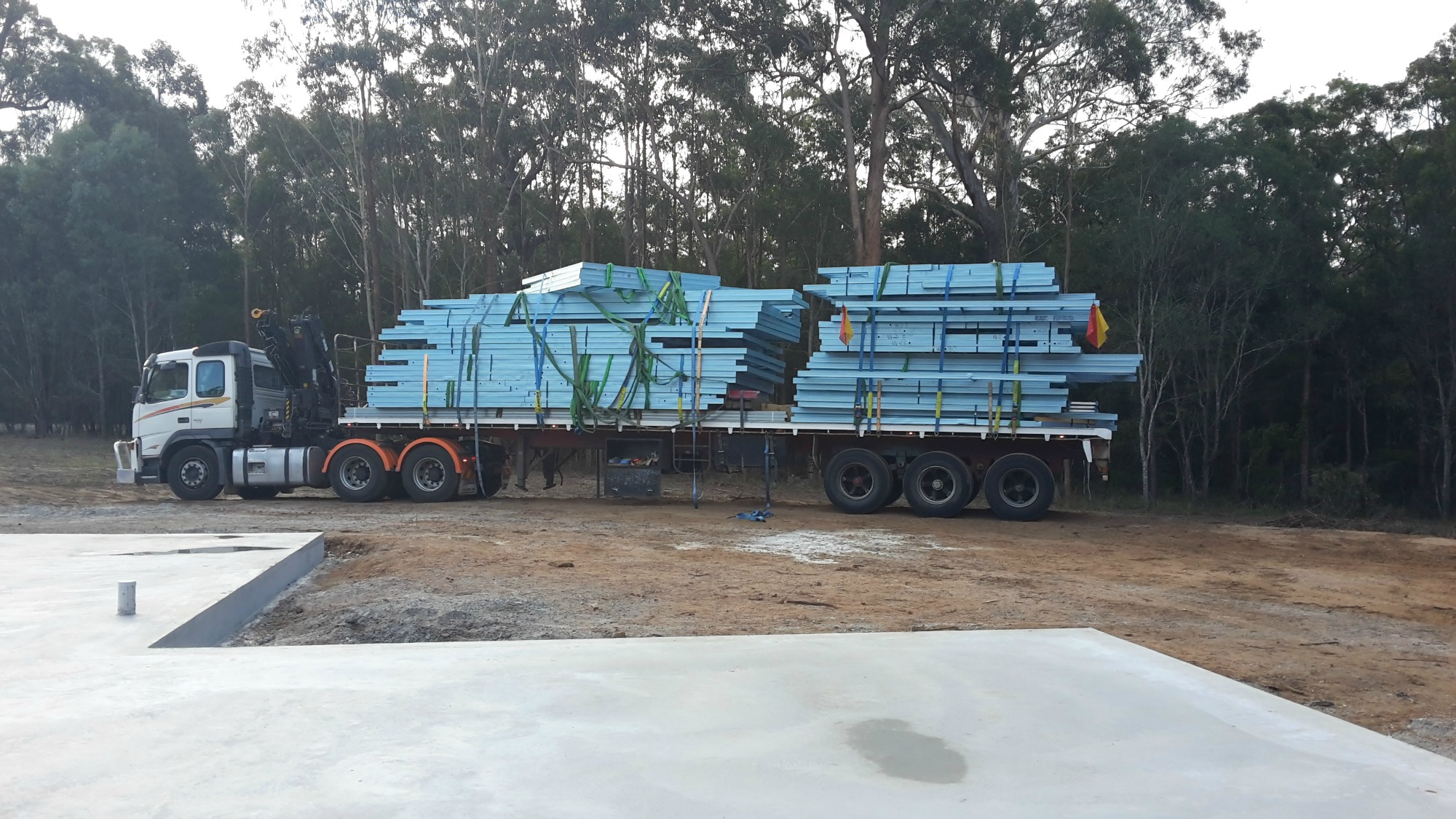 Steel home frame delivery