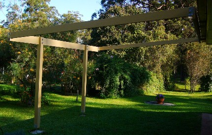 Pergola with outside joists installed