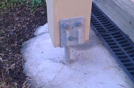 post installed in stirrup