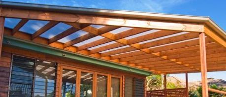 Wooden pergola wall mounted