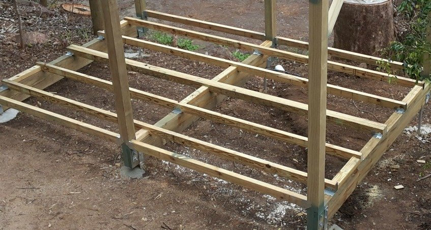 Shed raised floor system
